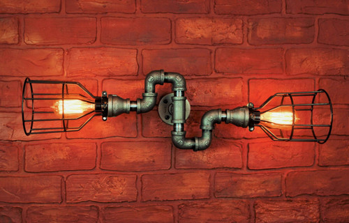 Industrial Pipe Wall Sconce - Galvanized Twisted pipe - bathroom vanity lighting