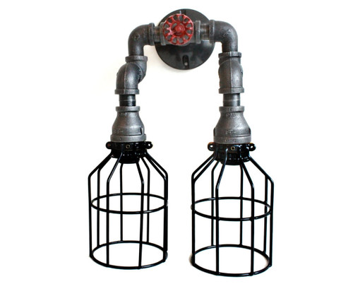 Industrial Pipe Lighting - Black Pipe Wall Sconce w/ knob - Bathroom vanity lighting over mirror
