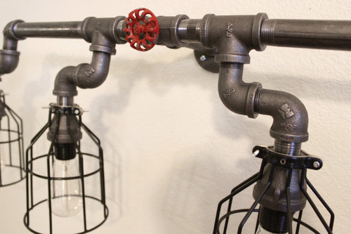 new styles 617ad acf33 Vanity Lighting for industrial bathroom - Black Pipe Wall Sconce w/ knob -  Bathroom vanity lighting over mirror