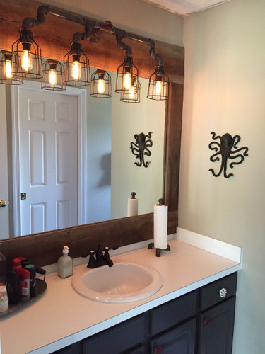 Industrial Vanity Lighting Vanity Light Over Mirror In Bathroom