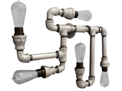 Galvanized pipe - Industrial lighting wall sconce