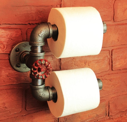 Double Roll Toilet Paper Holder - Black Industrial Pipe toilet roll holder, Industrial Farmhouse Bathroom decor, Bathroom fixture, TP Holder