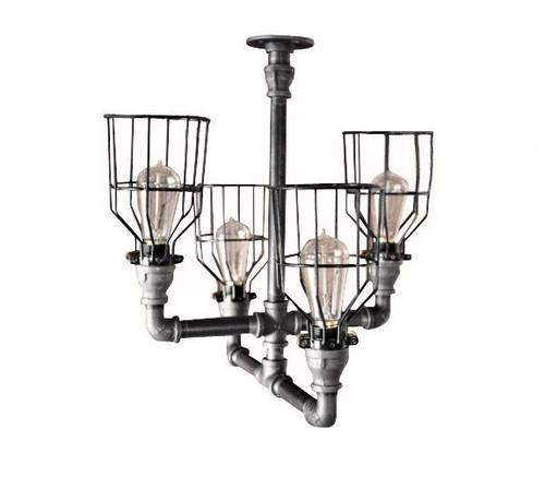 Black pipe chandelier ceiling light - Industrial black pipe & black cage - Industrial lighting decor