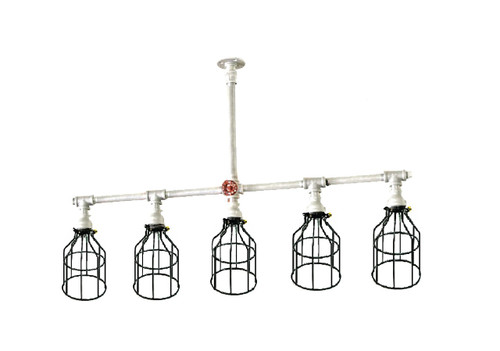 Galvanized pipe chandelier ceiling light Industrial black cage - Industrial lighting decor with knobs