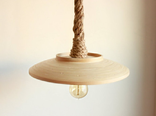 Wood Pendant Rope Pendant, Wood lamp Industrial Lighting pendent lighting - Rope light Kitchen Light jute twine rope Rope swag hanging light