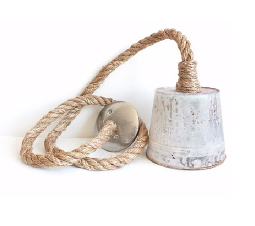 "Rustic Rope & 9"" Bucket Industrial Farmhouse Kitchen Island Bar Pendant Light, Rustic Metal Galvanized Bucket Steel hanging pendent rope light"