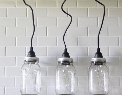 Mason Jar Lighting Set of 3 Hanging Large Clear Mason Jar Pendant Lights Handmade Rustic country light fixture pendent lighting kitchen light