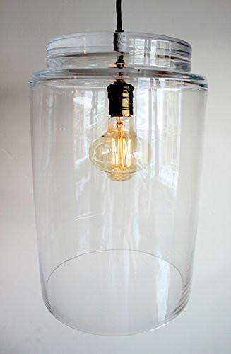 Large Glass Pendant Industrial Lighting - Farmhouse Kitchen Island Bar Drop Light hanging, Hurricane Pendent Lighting, Bronze Edison Bulb Chandelier