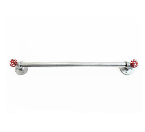 Galvanized pipe towel bar with red robe hooks