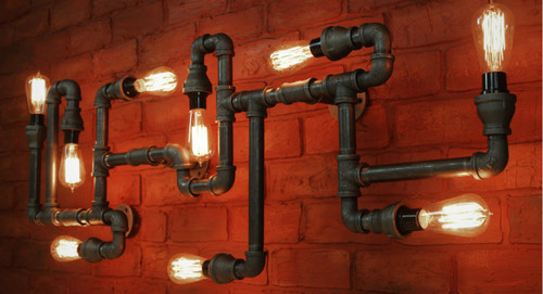 Black Pipe Wall Sconce OR ceiling fixture - Large Industrial lighting, Steampunk light