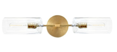 Brass / Gold Bronze Color wall sconce with glass SHORT horizontal
