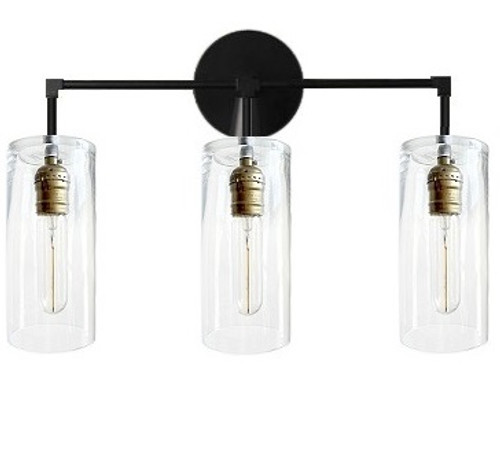 3 Arm bathroom vanity - Modern industrial fixture glass - Black wall lamp Industrial, Wall sconce light - LED Edison bulbs electric light fixture
