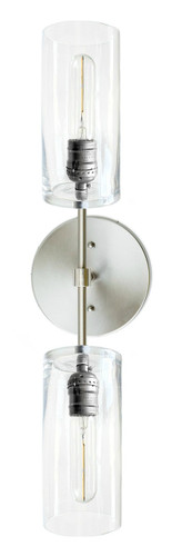 Brushed Nickel / Stainless steel color  wall sconce with glass hallway or mirror vanity lighting