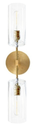 Side mount Brass / Gold / Bronze Color wall sconce with glass