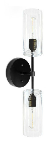 Black with black sockets a wall sconce with glass light shades