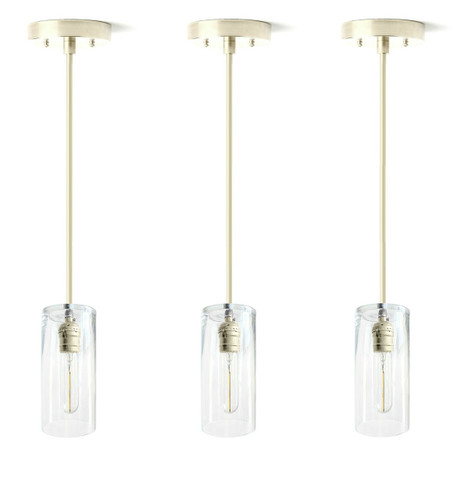 Three silver nickel stainless steel color hanging pendant lights - For over kitchen island