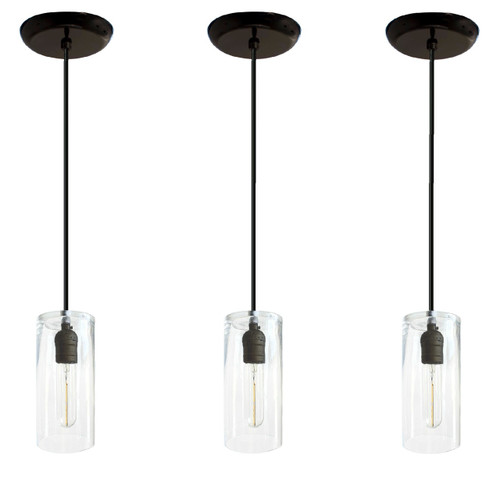 Three black hanging pendant lights - For over kitchen island