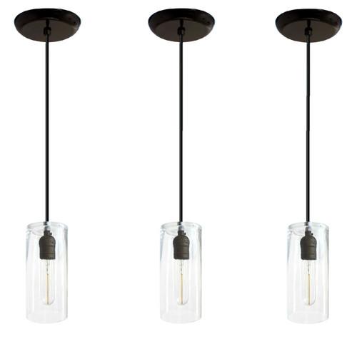 Set Of 3 Kitchen Island Pendant Lights Black
