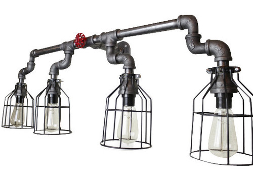 Vanity Lighting for industrial bathroom 3 lights - Black Pipe Wall Sconce w/ knob - Bathroom vanity lighting over mirror