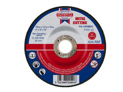 Faithfull FAI1003MDC Depressed Centre Metal Cut Off Disc 100 x 3.2 x 16mm