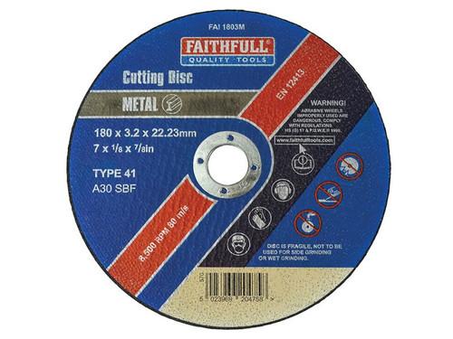 Faithfull FAI1803M Metal Cut Off Disc 180 x 3.2 x 22.23mm