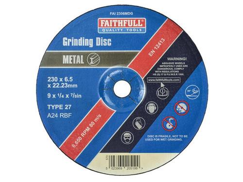 Faithfull FAI2306MDG Depressed Centre Metal Grinding Disc 230 x 6.4 x 22.23mm