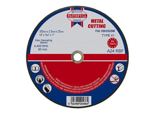Faithfull FAI3503525M Metal Cut Off Disc 355 x 3.5 x 25.4mm