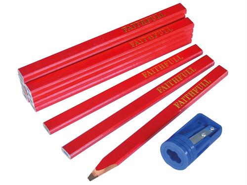 Faithfull FAICPR12S Carpenters Pencils Tube & Sharpener