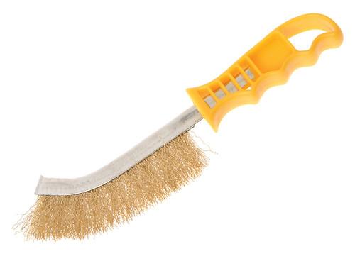 Faithfull FAIWBHANDB Wire Scratch Brush Brass Yellow Handle