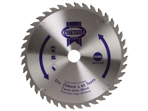 Faithfull FAIZ25440 TCT Circular Saw Blade 254 x 30mm 40T