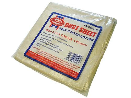 Faithfull FAIDSPC128N Cotton Twill Polythene Backed Dust Sheet 3.6 x 2.8m