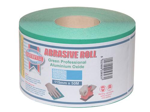 Faithfull FAIAR11580G Aluminium Oxide Sanding Paper Roll Green 115mm x 50m 80G