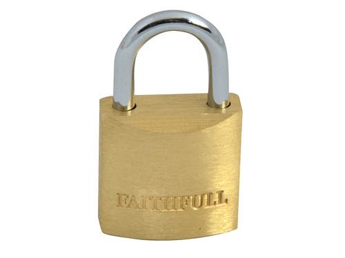 Faithfull FAIPLB20 Brass Padlock 20mm 3 Keys