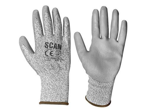 Scan SCAGLOCUT3XL Grey PU Coated Cut 3 Gloves - XL (Size 10)
