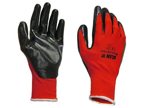 Scan SCAGLONITBXL Palm Dipped Black Nitrile Gloves - XL (Size 10)