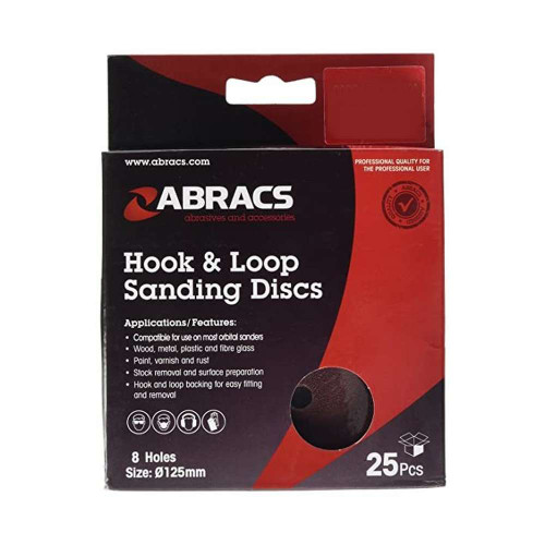 Abracs 125mm 8 hole hook & loop sanding discs 100 grit Pack of 25