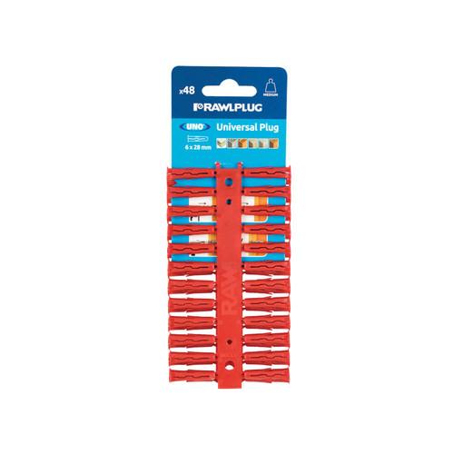 Rawlplug RAW68515 Red UNO Plugs 6 x 28mm (Card 48) | Toolden