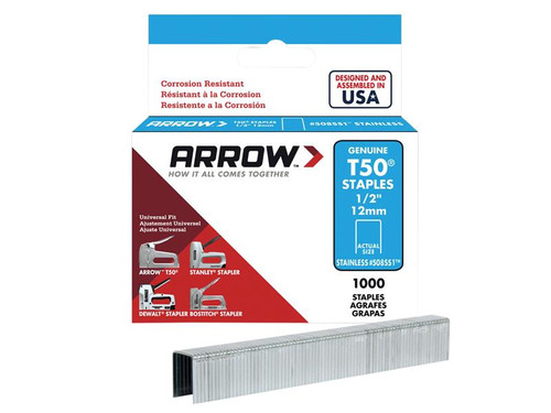 Arrow ARRT5012SS T50 Staples Stainless Steel 508SS 12mm (1/2in) Box 1000 | Toolden