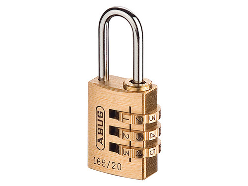 ABUS Mechanical ABU16520C 165/20 20mm Solid Brass Body Combination Padlock (3-Digit) Carded | Toolden