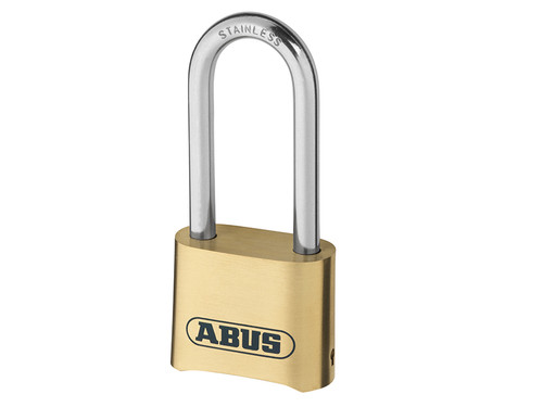 ABUS Mechanical ABU180IB50LC 180IB/50HB63 50mm Brass Body Combination Padlock Long Shackle (4-Digit) Carded | Toolden