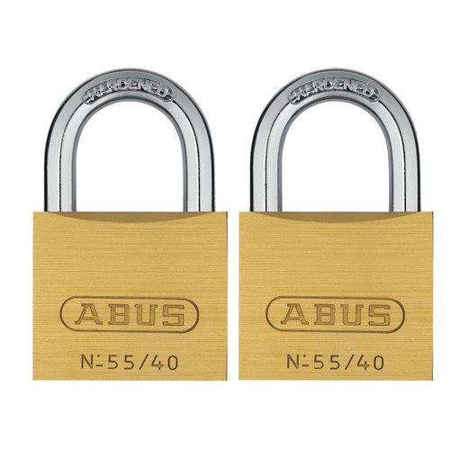 ABUS Mechanical ABU5540TC 55/40mm Brass Padlocks Twin Pack  | Toolden