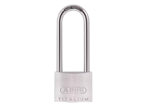 ABUS Mechanical ABU64TI5080C 64TI/50mm TITALIUM Padlock 80mm Long Shackle Carded