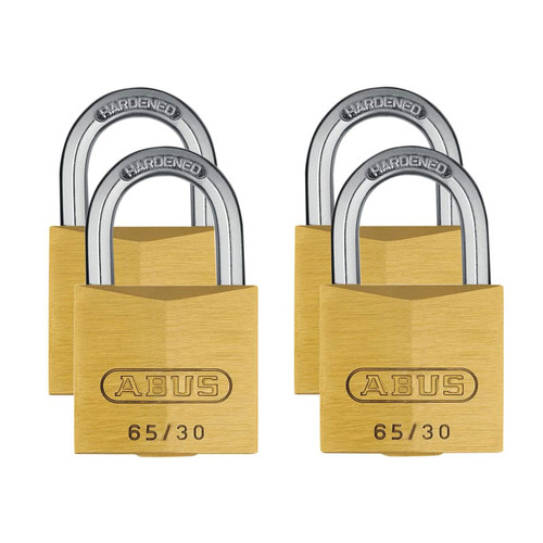 ABUS Mechanical ABU6530QPK 65/30mm Brass Padlock Quad Pack | Toolden