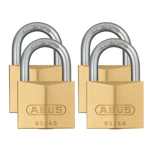 ABUS Mechanical ABU6540QPK 65/40mm Brass Padlock Quad Pack | Toolden