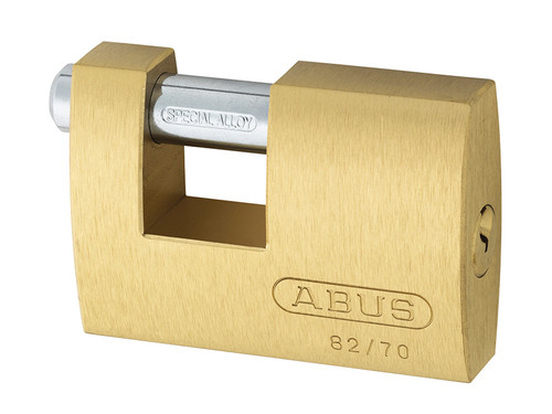 ABUS Mechanical ABU8270C 82/70mm Monoblock Brass Shutter Padlock Carded | Toolden
