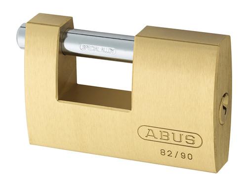 ABUS Mechanical ABU8290C 82/90mm Monoblock Brass Shutter Padlock Carded   Toolden