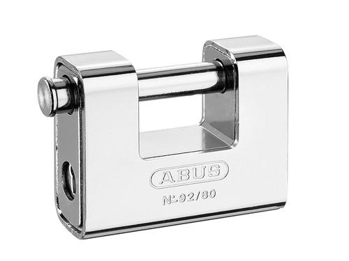 ABUS Mechanical ABU9280C 92/80mm Monoblock Brass Body Shutter Padlock Carded | Toolden