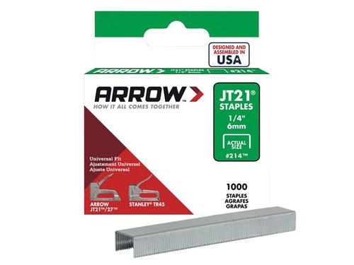 Arrow ARRJT2114S JT21 T27 Staples 6mm (1/4in) Box 1000   Toolden