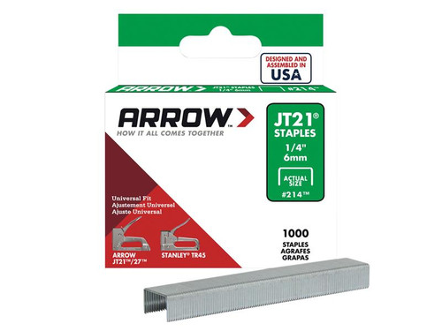Arrow ARRJT2114S JT21 T27 Staples 6mm (1/4in) Box 1000 | Toolden