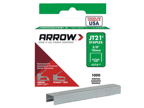 Arrow ARRJT2138S JT21 T27 Staples 10mm (3/8in) Box 1000 | Toolden